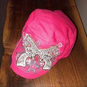 Pink guns with bling baseball cap